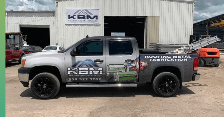 KBM roofing truck