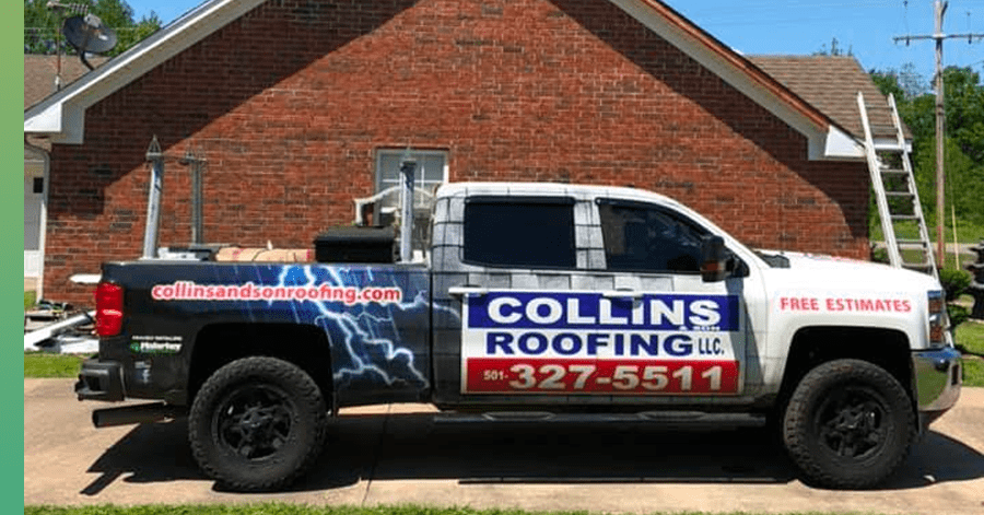 collins roofing truck