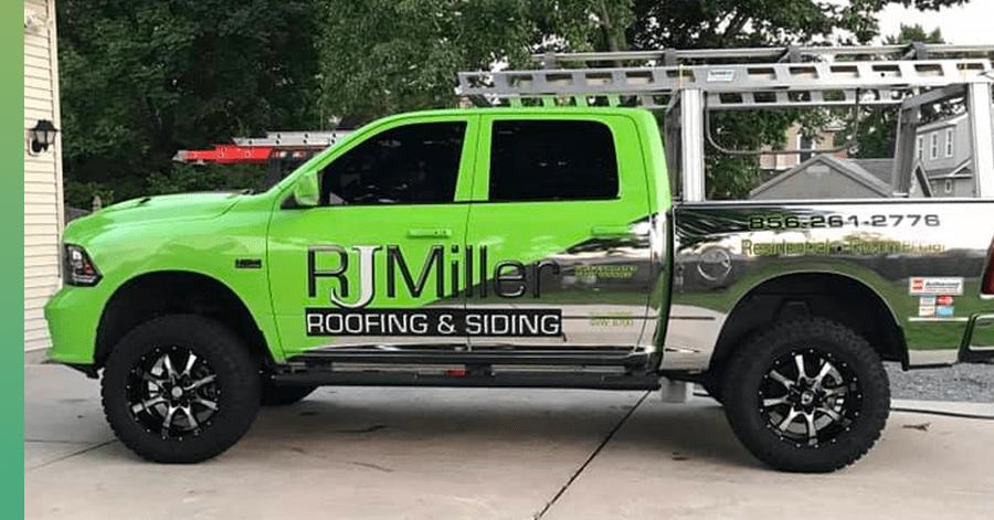 rj miller roofing truck