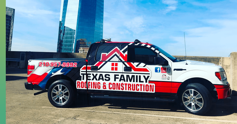 texas family roofing truck