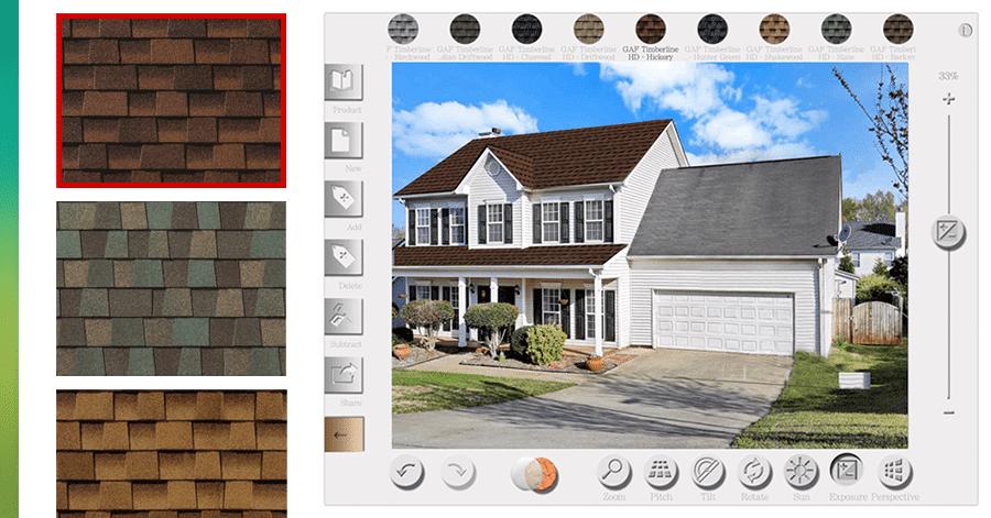 Roof shingle color selector