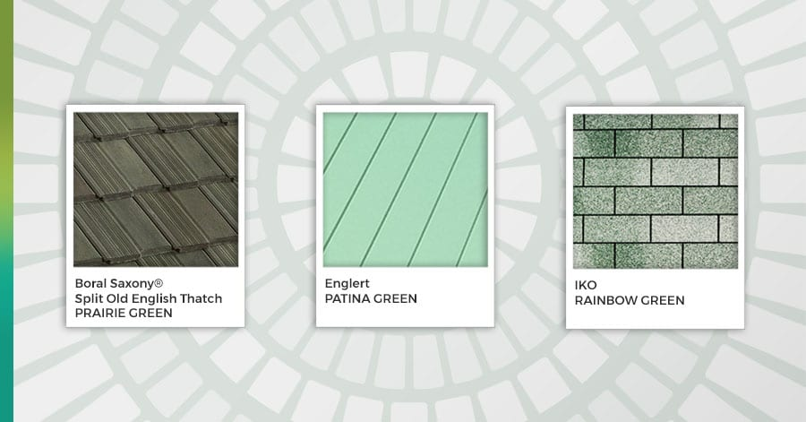 green colored roof shingles