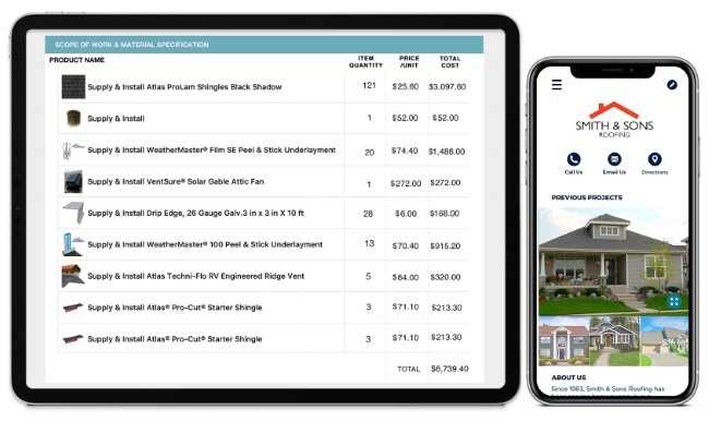roofing material order app