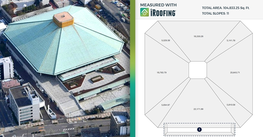 arena roof measurement
