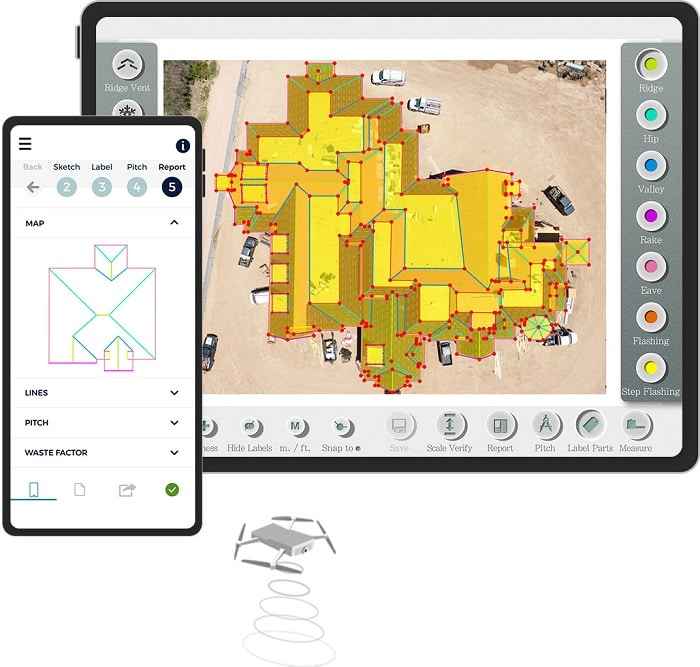 Roof measurement drone